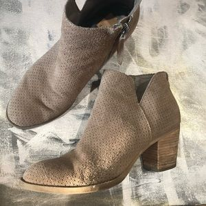 Dolce Vita Suede Lasercut Taupe Ankle Boot -SZ 7.5